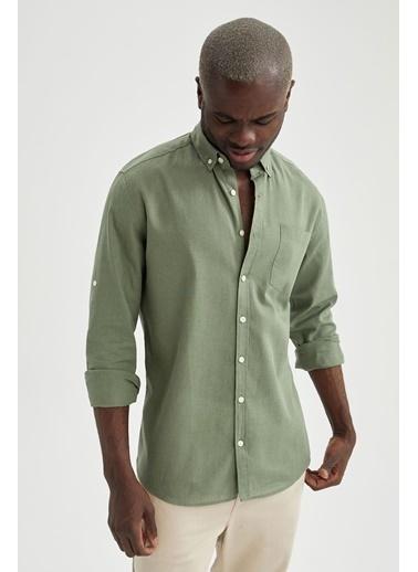 DeFacto Modern Fit Keten Karışımlı Uzun Kollu Gömlek Turkuaz